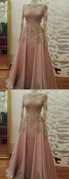 Long Sleeve Evening Dress, Long Prom Dresses with Gold Lace, Beadings Floor Length Satin Formal Party Gowns, Lace Evening Dresses