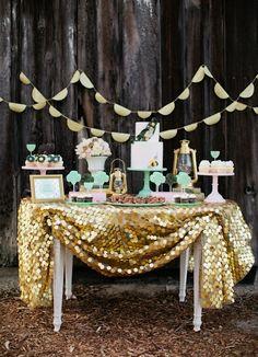 Dessert buffet, I love their choice for a table cloth.