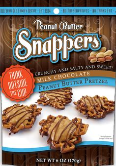 Snappers® special blend of peanut butter with a hint of sweetness, drizzled in smooth milk chocolate on a bed of crunchy pretzels.