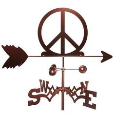 SWEN Products Peace Sign Weathervane - 1139-GARDEN, Durable