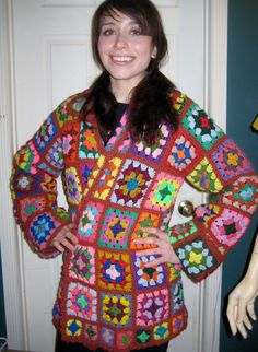 Vintage 70's Granny Square Crocheted Jacket Cardigan Sweater Coat Hipster