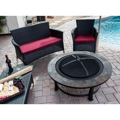 Elevate your outdoor entertaining area with this Round Slate Top wood burning fire pit. This round table, constructed of sturdy steel with an antique black finish, features a modern design to complement many backyard styles. Propane Fire Pit Table, Wood Fire Pit, Steel Fire Pit, Wood Burning Fire Pit, Fire Table, Fire Pits, Fire Pit Walmart, Fire Pit Wayfair, Outdoor Fire