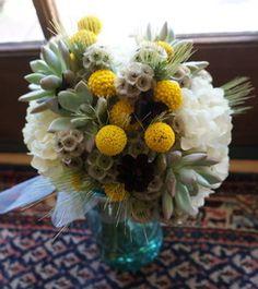 Bridal Bouquet, succulents, hydrangea, craspedia, stellata pods, yellow, white, green