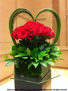 Valentine's Day heart shaped floral arrangement with roses