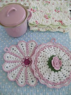 pink potholders, reminds me of the ones my mother made
