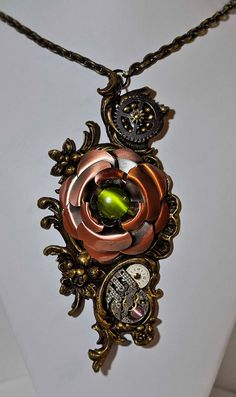recycled steampunk victorian drawer pull copper rose by wedoart,