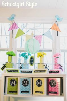 Love the colors--blue, yellow, pink, green, lavender. Schoolgirl_Style_Polka_Dots Classroom Decor