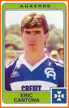 Panini stickers: Eric Cantona at Auxerre Retro Football, World Football, School Football, Vintage Football, Soccer Cards, Football Cards, Football Shirts, Manchester United Legends, Manchester United Football