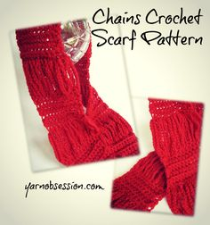 Chains Crochet Scarf Pattern on Yarn Obsession http://yarnobsession.com