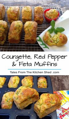 Courgette, Roasted Red Pepper & Feta Muffins - delicious savoury muffins…