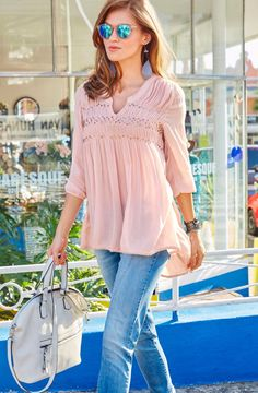 Aniston Longbluse »mit Pailletten und Crépe-Qualität« im Online Shop von Ackermann Versand #Fashion #Mode Modern Crochet, Mullets, Classic Looks, Bell Sleeve Top, Ruffle Blouse, Lace, Womens Fashion, How To Wear, Shopping