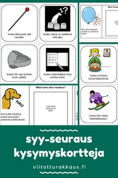 Syy & seuraus kysymyskortteja - Viitottu Rakkaus Language, Map, Education, Learning, School, Kids, Young Children, Boys, Location Map