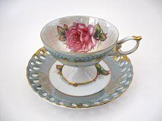 LM Royal Halsey Teacup Saucer Set Footed Teacup Reticulated