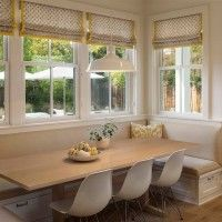Eclectic Dining Room Banquette Bench Wrapping Fascinating Interior Settings : Impressive Dining Space Design Implemented With Wide Dining Room Banquette Bench Which Has White Drawers Below Also Thin Dining Table