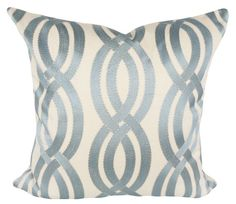 "This Kaufmann Blue Trellis Embroidered Decorative Pillow Cover is a Stunning Modern Throw Pillow, that Showcases the ..""WINDING PATH MIST"".. Designer Pattern.  This Pattern Features a Soft Blue Glossy Embroidered Interlacing Trellis / Scroll Pattern with Narrow Cream Edge Stitching, Against a Solid Cream Back."