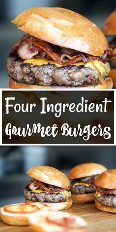 Ingredient Gourmet Burgers (The quick and tasty burger hack Four Ingredient Gourmet Burgers! (The quick and tasty burger hack, that you need to know about!)Four Ingredient Gourmet Burgers! (The quick and tasty burger hack, that you need to know about! Bbq Burger, Hamburgers Gastronomiques, Gourmet Hamburgers, Gourmet Burger, Grilled Burger Recipes, Best Burger Recipe, Tasty Burger, Delicious Burgers, Beef Recipes