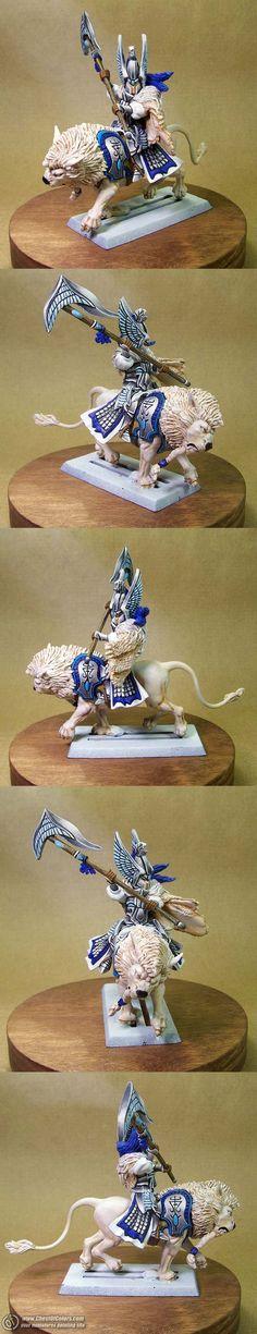 High elf lord on lion Warhammer Eldar, Warhammer Paint, Warhammer Fantasy, Fantasy Battle, High Fantasy, Figurine Warhammer, Paint Themes, Grandeur Nature, Fantasy Figures