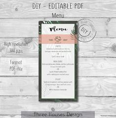 Green Leaf Blush Pink Wedding Menu template, Wedding Menu Leaves, Printable Menu, DIY Digital Instant Download, Editable PDF door ThreeHousesDesign op Etsy Fine Paper, Paper Art, Printable Menu, Wedding Menu Template, Blush Pink Weddings, Make Design, Art Market, Art Day, Paper Cutting