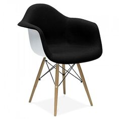 Charles Eames Eames Style Upholstered Black DAW Chair