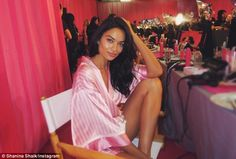 Legs eleven out of ten: The 24-year-old posed back stage offering a glimpse of her catwalk body