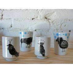 Encomenda para uma amiga, copos pintados a mão 🐦 #ceramica #passaros #illustration #ceramic