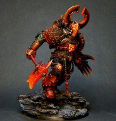 Warhammer 40k, Chaos Champion/Terminator Champion, Khorne Disciple. Awesome conversion!