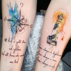 These couple tattoos help you to show that how much love you have devoted to each other. So, let's explore 32 couple tattoos for every couple should try. Tattoos Bein, Sister Tattoos, Friend Tattoos, Body Art Tattoos, New Tattoos, Bioshock Tattoo, Watercolor Compass Tattoo, Tattoo Dentelle, Partner Tattoos