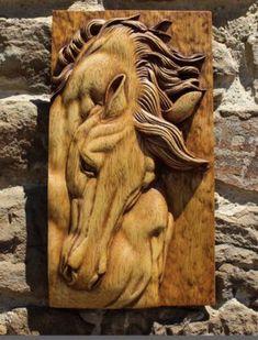 Wood Carving Art, Wood Art, Equine Art, Tile Art, Dremel, Woodcarving, Lion Sculpture, Horses, Statue