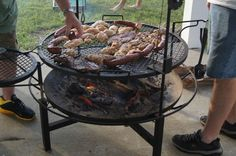 Giant fire pit/grill combo - great for dinner and marshmallows! | Beach House | Galveston | Vacation Rental