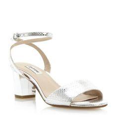 305e5e5d8edc dune ladies silver mirrored block heel sandal
