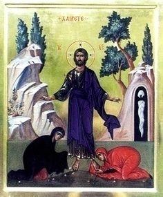 о.Зинон: Явление воскресшего Христа двум Мариям. Иконаю 1999