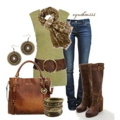 Lime & brown, created by cynthia335 on Polyvore by reva