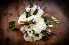 Rustic country bouquet of white hydrangea and roses with wheat and lavender - photography http://www.philevansphoto.co.uk/