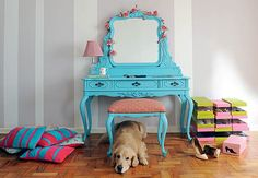 turquoise dressing table and stool with adorable dog.  ♥ it all.  i cant decide which i want more!
