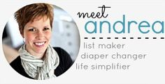 Andrea Dekker free organizing downloads, meal planning, daily schedules, password sheets, etc.
