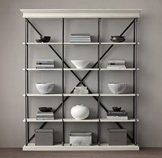 parisian cornice wide bookcase in black restoration hardware