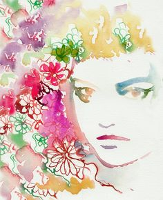 Watercolor Portrait Print of Watercolor door silverridgestudio