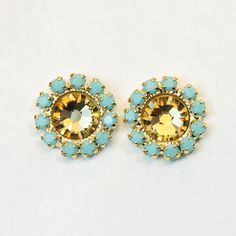 Aqua Brown Stud earrings Champagne Turquoise Halo by TIMATIBO, $25.00