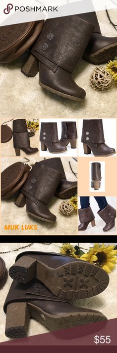 MUKS LUKS Women's Heeled Chris Boots Fold Over Boots...in Brown ...3 inch Heels..Worn Once... Muk Luks Shoes Ankle Boots & Booties