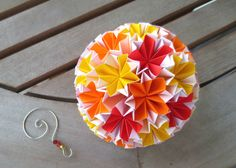 Modular Origami Ball with Matching hook Red Orange by FubiniCrafts