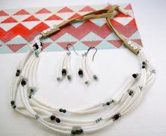 Dentalium necklace  earrings, Nisha Supahan (Karuk)