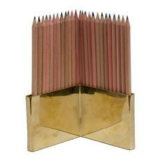 Colored Pencils And Brass Holder Set