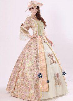 3d0a891143c8 Elegant Pink Print Royal Palace Marie Antoinette Ball Gown, Civil War  Medieval Renaissance Dress Costumes