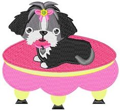 Dog machine embroidery design from embroiderydesigns.com Shih Tzu, Dog Days, Machine Embroidery Designs, Pup, Minnie Mouse, Applique, Disney Characters, Dogs, Pattern