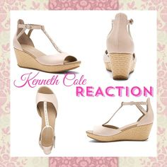 PRICE REDUCED💥Kenneth Cole Reaction Latte Wedges ✨Price Reduced✨💋Price is now Firm Unless Bundled💋Kenneth Cole Reaction Art peep-toe sandal.They are Size 8 But Fit 8.5 💕Designed to flatter the foot, this women's platform wedge sandal boasts a soft faux leather or metallic faux leather, and adjustable ankle strap with metal buckle closure ensures a secure fit. A cushioned footbed enhances comfort atop the braided. It has a grippy synthetic sole and inclined forefoot for a fluid walking…