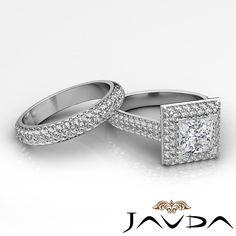 Princess Diamond Vintage Engagement Pave Ring GIA F SI1 14k White Gold 2.4 ct