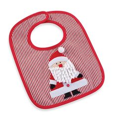 Keep it clean and festive for your baby all through the Christmas season with this adorable Santa corduroy bib by Mud Pie. Bib features a dimensional Santa applique, railroad stripes, a minky back, and red piping for fun, comfy style at mealtime.