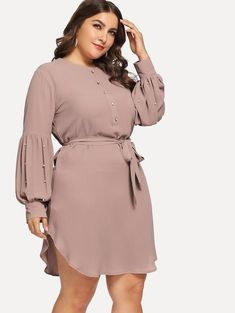 Shop Plus Self Tie Beaded Curved Hem Dress online. SHEIN offers Plus Self Tie Beaded Curved Hem Dress & more to fit your fashionable needs. Vestidos Plus Size, Plus Size Dresses, Plus Size Outfits, Curvy Fashion, Girl Fashion, Fashion Dresses, Steampunk Fashion, Gothic Fashion, Plus Size Fashion For Women