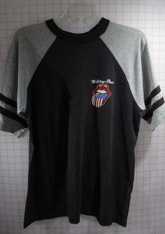 1216aa500 Details about Rolling Stones T-shirt Black/Grey XL (46) '81 US Flag Tongue  Vintage