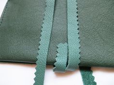 handmade leather tobacco pouch, green leather